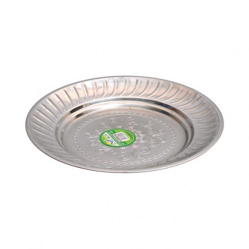 Тарелка металлическая круглая с узором D 22см