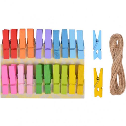 Прищепки деревянные декоративные цветные 20шт 3,5*0,6см 4-202