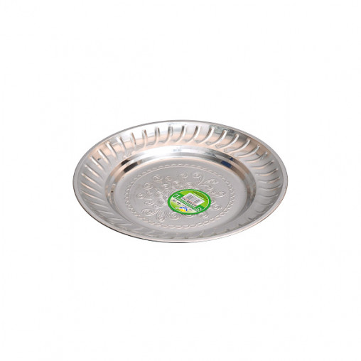 Тарелка металлическая круглая с узором D 20см