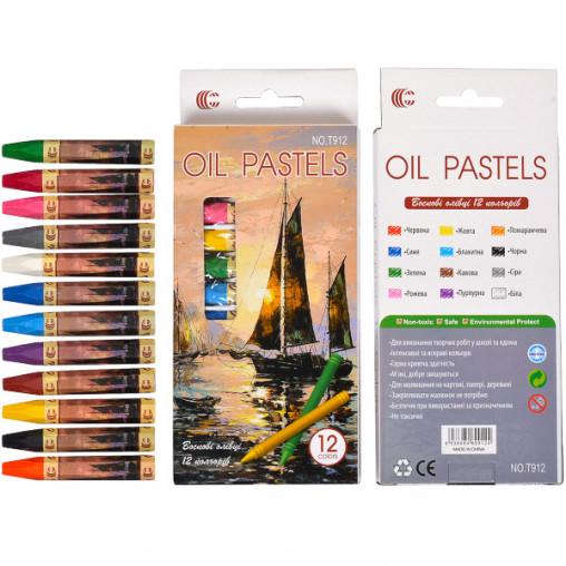"""Восковые карандаши 12 цветов OIL PASTELS """"С"""" Т912"""