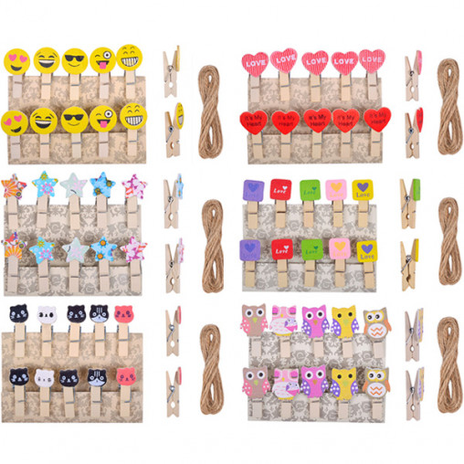 Прищепки деревянные декоративные с фигуркой  10шт 3,5*0,6см 4-201