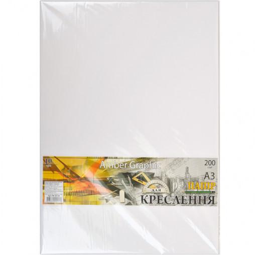 """Бумага для черчения А3 AmberGraphic """"Графика"""" 10 листов, 200г/м², в п/п пакете ПК3310Е"""