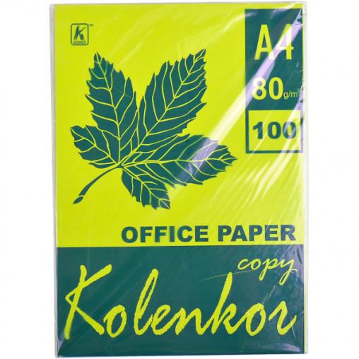 Бумага для ксерокса, А4 100 листов 80г/м² неон CYBER HP GREEN 321