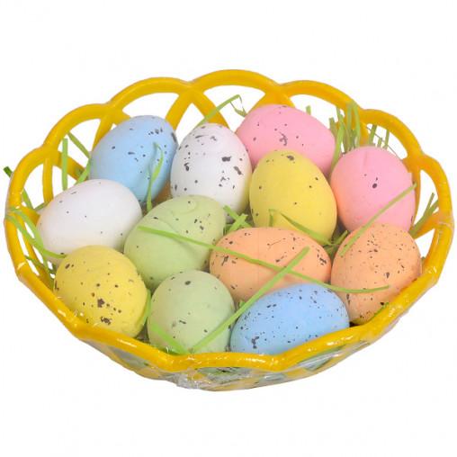 Корзинка с декоративными перепелиными яйцами 4см G19-37