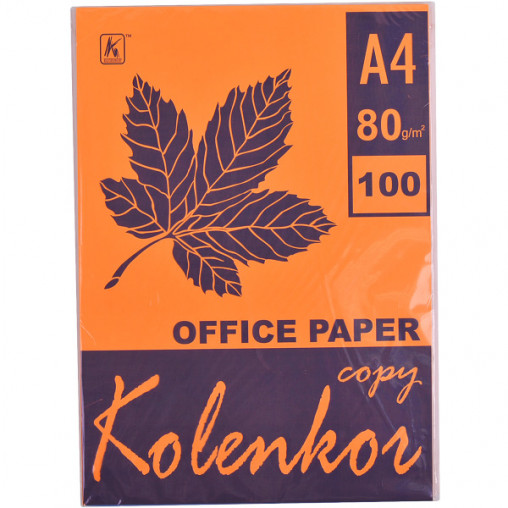 Бумага для ксерокса, А4 100 листов 80г/м² неон CYBER HP ORANGE 371