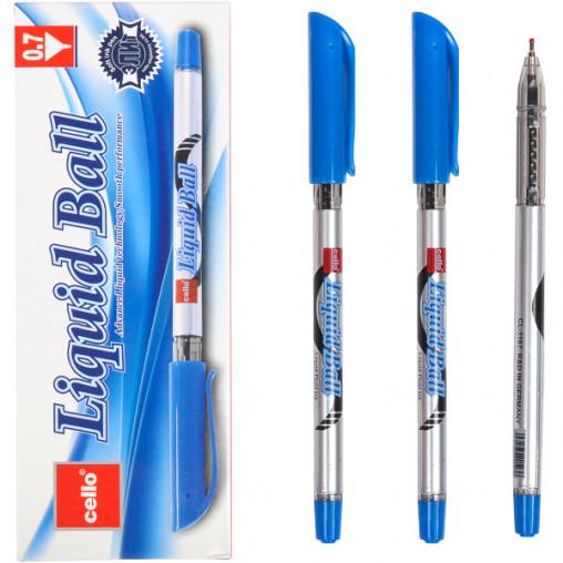 "Ручка масляная ""Liquid Ball"" Cello CL1167-12 синяя"