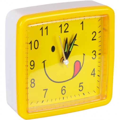 "Настольные часы - будильник 8898/Х2-10 ""Смайл квадрат"" 10,5*10,5*3,8см"