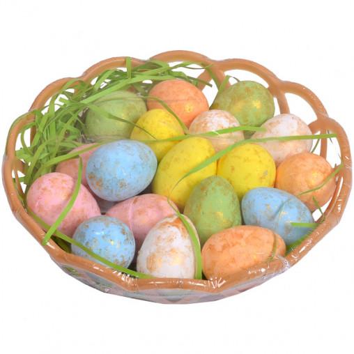 Корзинка с декоративными яйцами 3,5см с золотом G19-52
