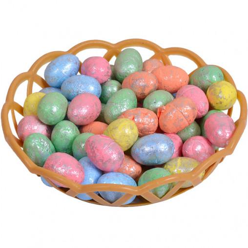 Корзинка с декоративными яйцами 2,8см с серебром HS61318