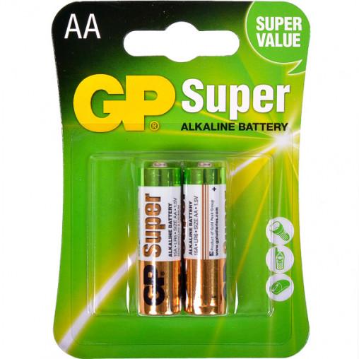 Батарейка GP 15A-U2 щелочная LR6, AA по 2 шт. Alkaline Super GP-000027