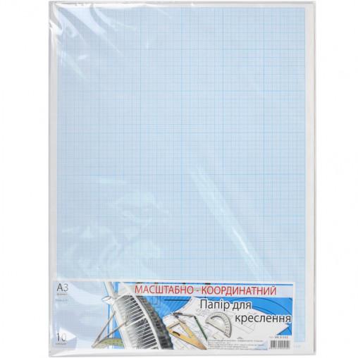 """Бумага масштабно-координатная А3 """"Графика"""" 10 листов, в п/п пакете МК3110Е"""