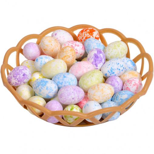 Корзинка с декоративными яйцами 2,8см в цветную крапинку HS61118