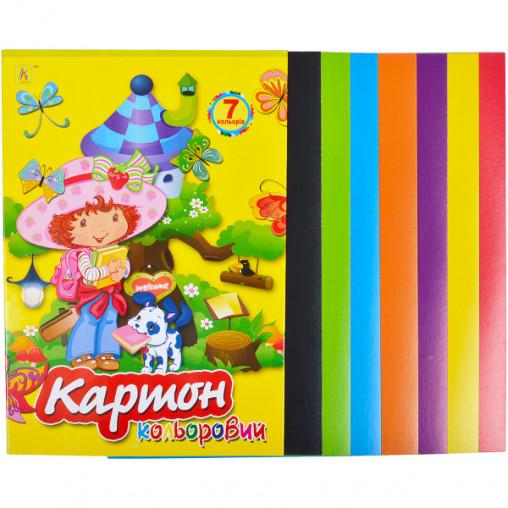 """Цветной картон А4 7 листов """"Коленкор"""" CK7L"""