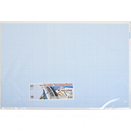 """Бумага масштабно-координатная А2 """"Графика"""" 10 листов, в п/п пакете МК2110Е"""