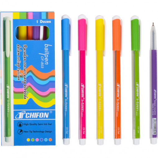 Ручка масляная CF-803 синяя полосатая