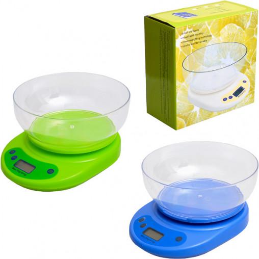 Весы кухонные электронные с круглой чашей 5 кг, 21*16см, чаша 17,5*5,5см