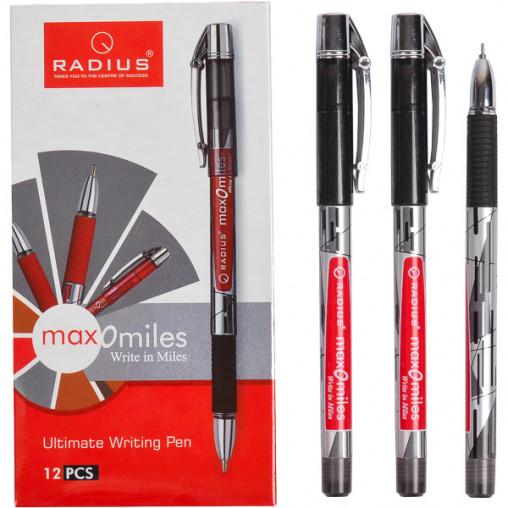 "Ручка ""Max - O - Miles"" RADIUS принт 12 штук, чорна"
