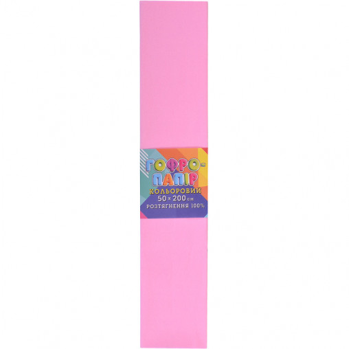 Бумага гофрированная светло-розовая CP-100-17 20г/м2 100%, 50*200см, 10шт./уп. КП034/22