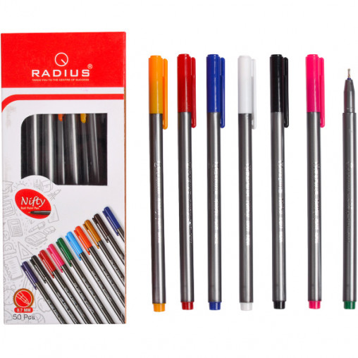 """Ручка """"Nifty Pen"""" RADIUS 50 штук корпус 10цветов, синя"""