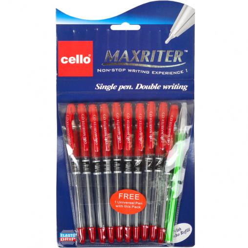 Ручка масляная MAXRITER 727+1 Cello красная