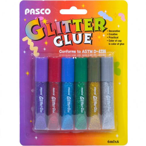 """Клей с блёстками 6мл """"Pasco"""" 6 цветов F-001-4"""