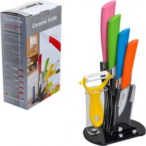 Набор керамических ножей на подставке, 6 предметов 30*19*10,5см FH-600