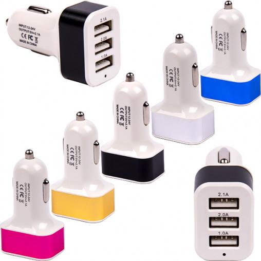 Автомобильный 3-USB адаптер 1.1А/2.1А/3.1А YT005