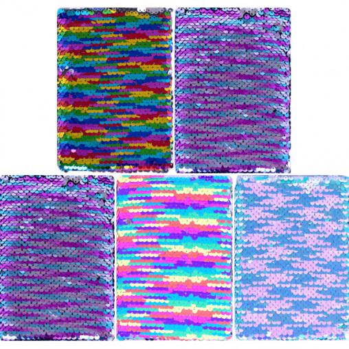 Блокнот с пайетками 15*10,5см твердый переплет, клетка 4-96/64К
