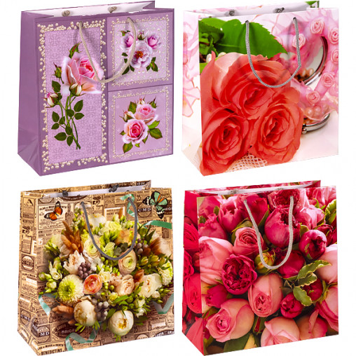 """Пакет цветной квадрат """"Цветы"""" 24х24х10 см 4021"""