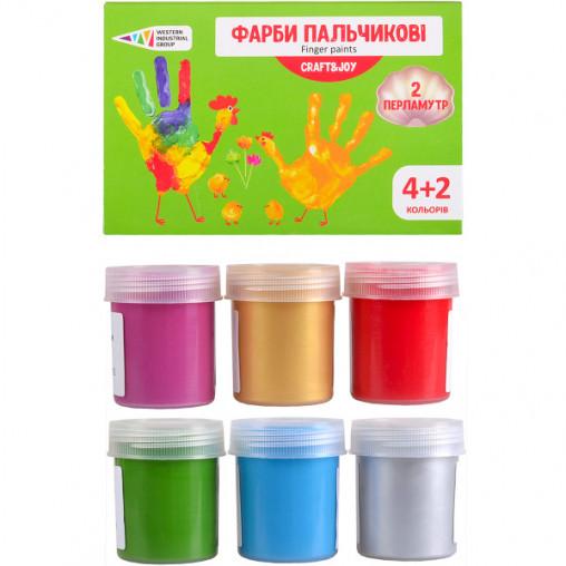 "Краски пальчиковые 4+2 цвета, 240 мл Craft and Joy ""Гамма"" 322076/Cr"