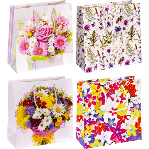 """Пакет цветной квадрат """"Цветы"""" 24х24х10 см 4022"""