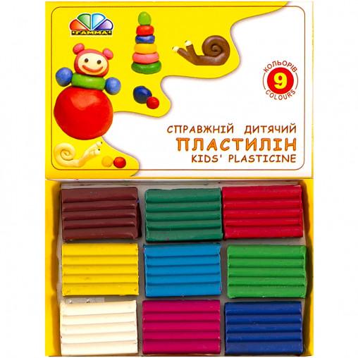 """Пластилин """"Улюблені іграшки"""" 9 цветов, 90 г """"Гамма"""" 331026"""