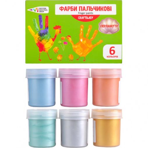 """Краски пальчиковые  6 цветов перламутр, 240 мл Craft and Joy """"Гамма"""" 322075/Cr"""