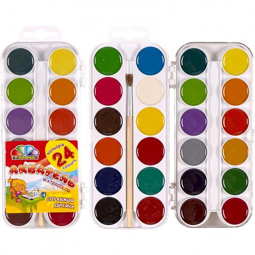 """Акварель 24 цвета """"Захоплення""""с кисточкой, пластик """"Гамма"""" 17*7,5см 312059"""