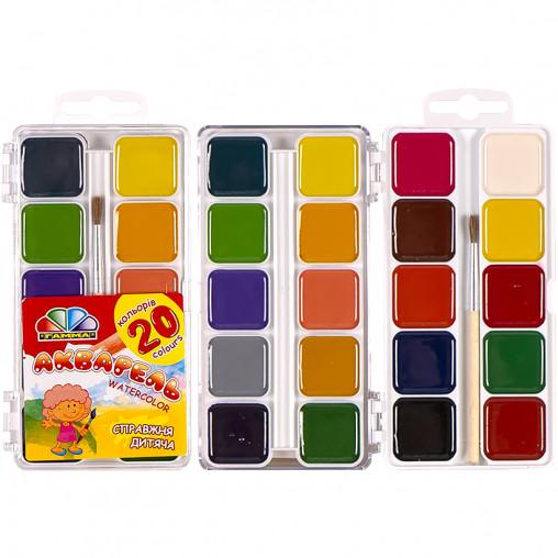 """Акварель 20 кольорів """"Захоплення"""" пластик """"Гамма"""" 13,5 * 7,5 см 312063"""
