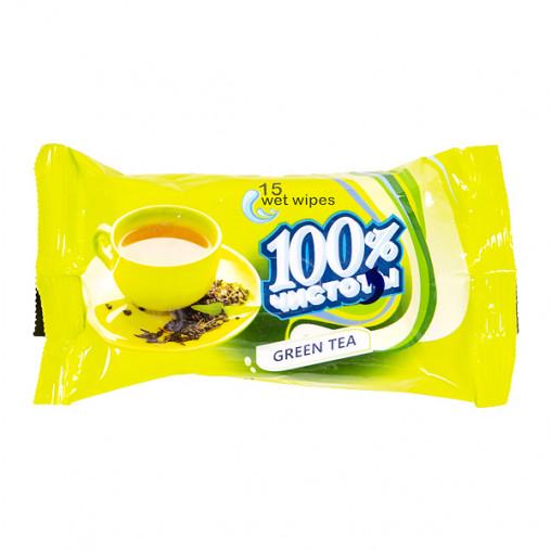 """Салф. вл. """"100% чистоты"""" с аром. зеленого чая (15 шт.) 223"""