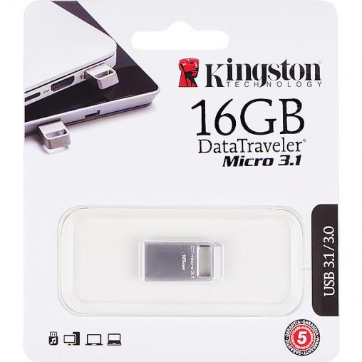 Флешка Kingston USB 16Gb DTMicro Type-A Metal USB 3.1/3.0 DTMC3/16GB 242775/053911