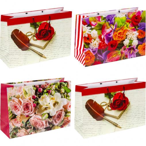 """Пакет цветной гигант """"Цветы"""" горизонтальный 32х46х15см 6024"""