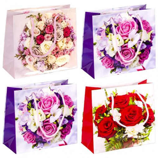"""Пакет цветной чашка """"Цветы"""" 16х16х7 см 2005"""