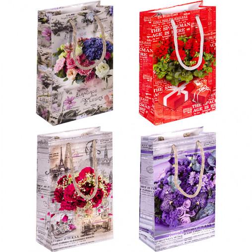 """Пакет цветной малый """"Цветы"""" 11х18х5 см 1006"""