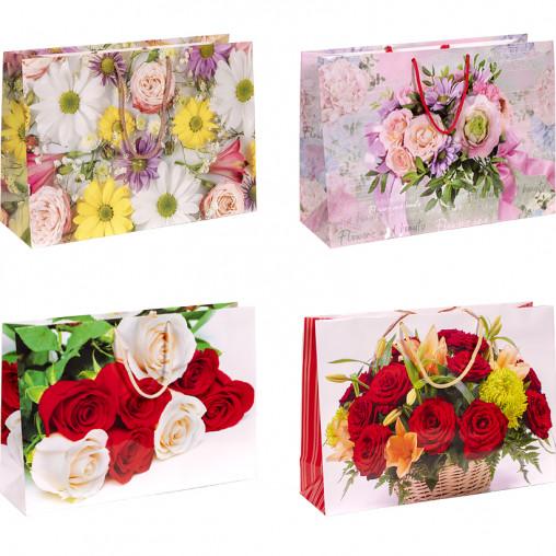 """Пакет цветной большой """"Цветы"""" горизонтальный 22х35х10 см 5041"""
