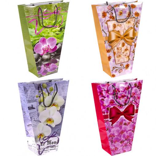 """Пакет цветной для букетов малый """"Орхидея"""" 37х24х10 см 8002"""