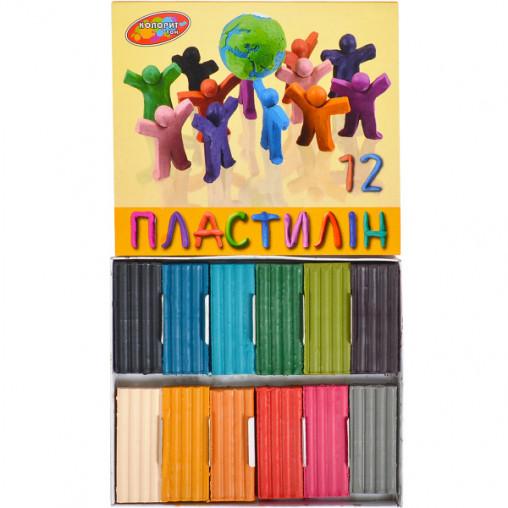 """Пластилин 215 г 12 цветов """"Колорит тон"""""""