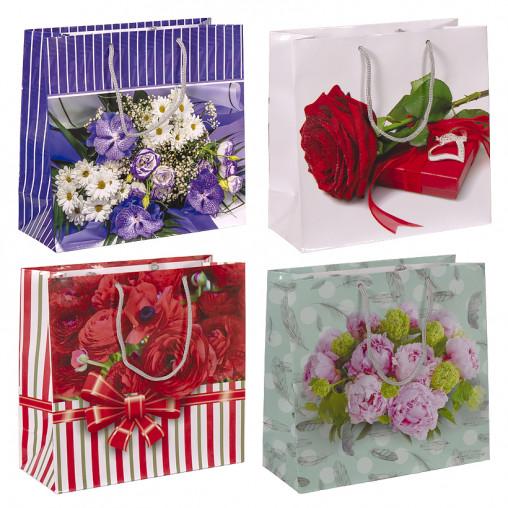 """Пакет цветной квадрат """"Цветы"""" 24х24х10 см 4011"""