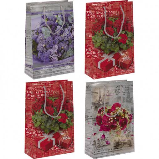 """Пакет цветной средний """"Цветы"""" 26х16,5х7 см 3002"""