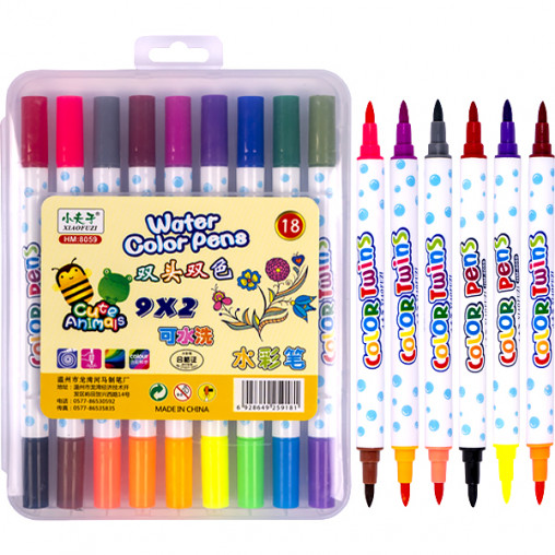 Фломастер двухцветный 9 штук 18 цветов 8059-18 в пластиковом боксе