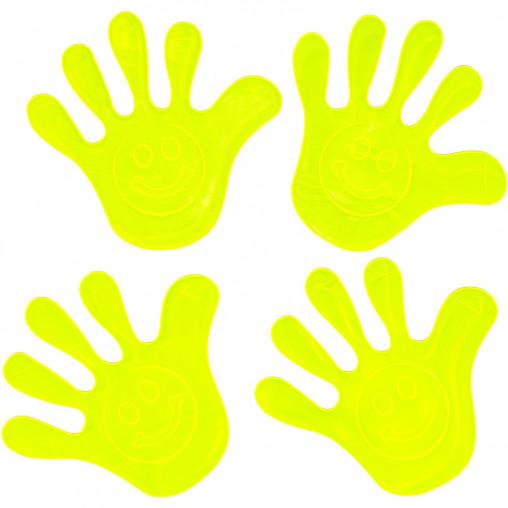 """Наклейка светоотражающая 4 штуки """"Рука"""" со смайлом 130"""