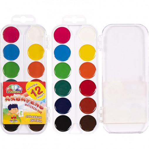 """Акварель 12 кольорів """"Захоплення"""" пластик """"Гамма"""" 17 * 7,5 см"""