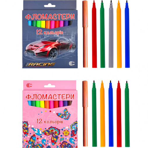 "Фломастер 12 цветов ""Картон"" ""С"" 950-12"