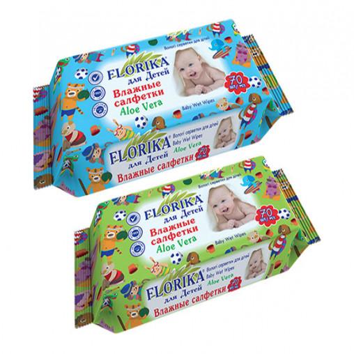 """Влажные салфетки для детей """"Florika"""" 70 штук 350066"""